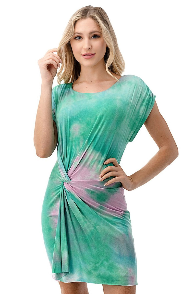 Tie Dye Twist Front Mini Dress