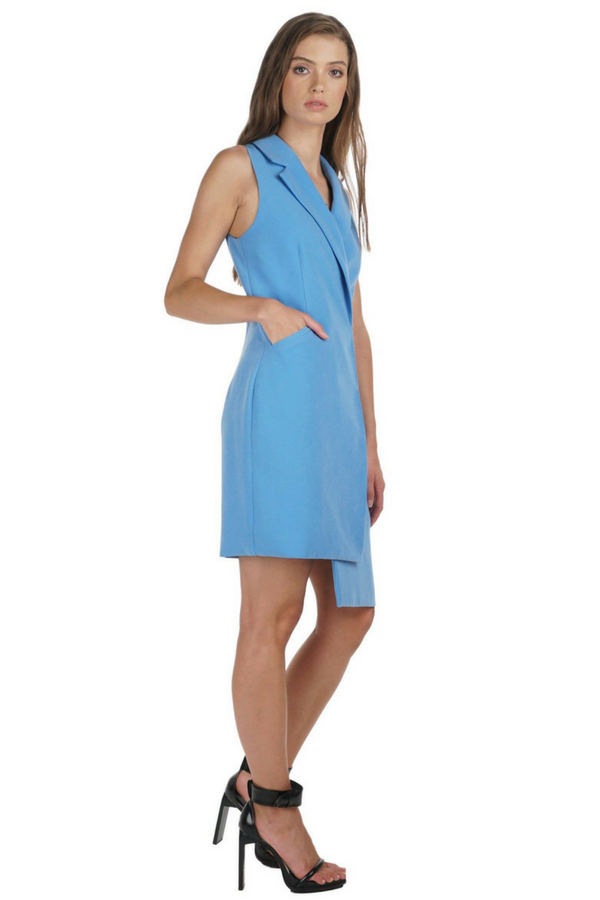 Sleeveless Tuxedo Dress in Light Blue