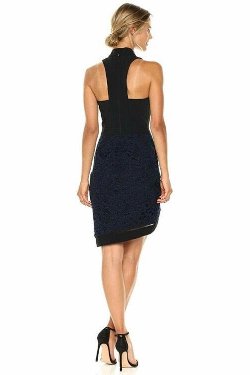 Choker Neck Sheath Dress with Lace Skirt Back