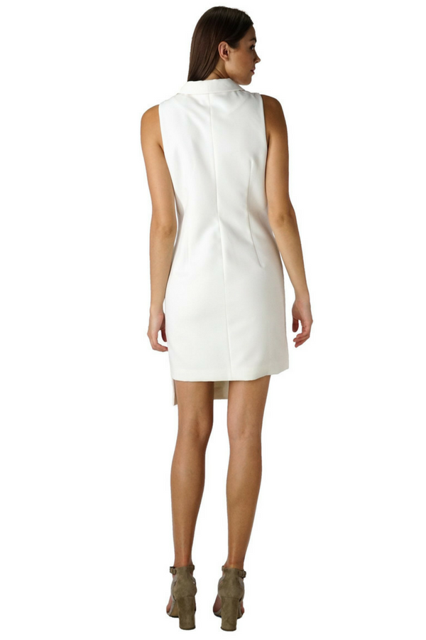 Sleeveless Tuxedo Dress in White