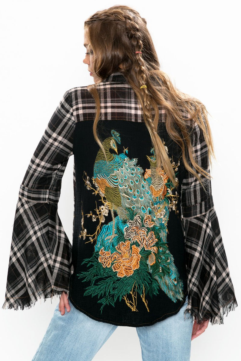 LAST CALL SIZE L | Black Plaid Exaggerated Bell Sleeve Top with Peacock Embroidered Back