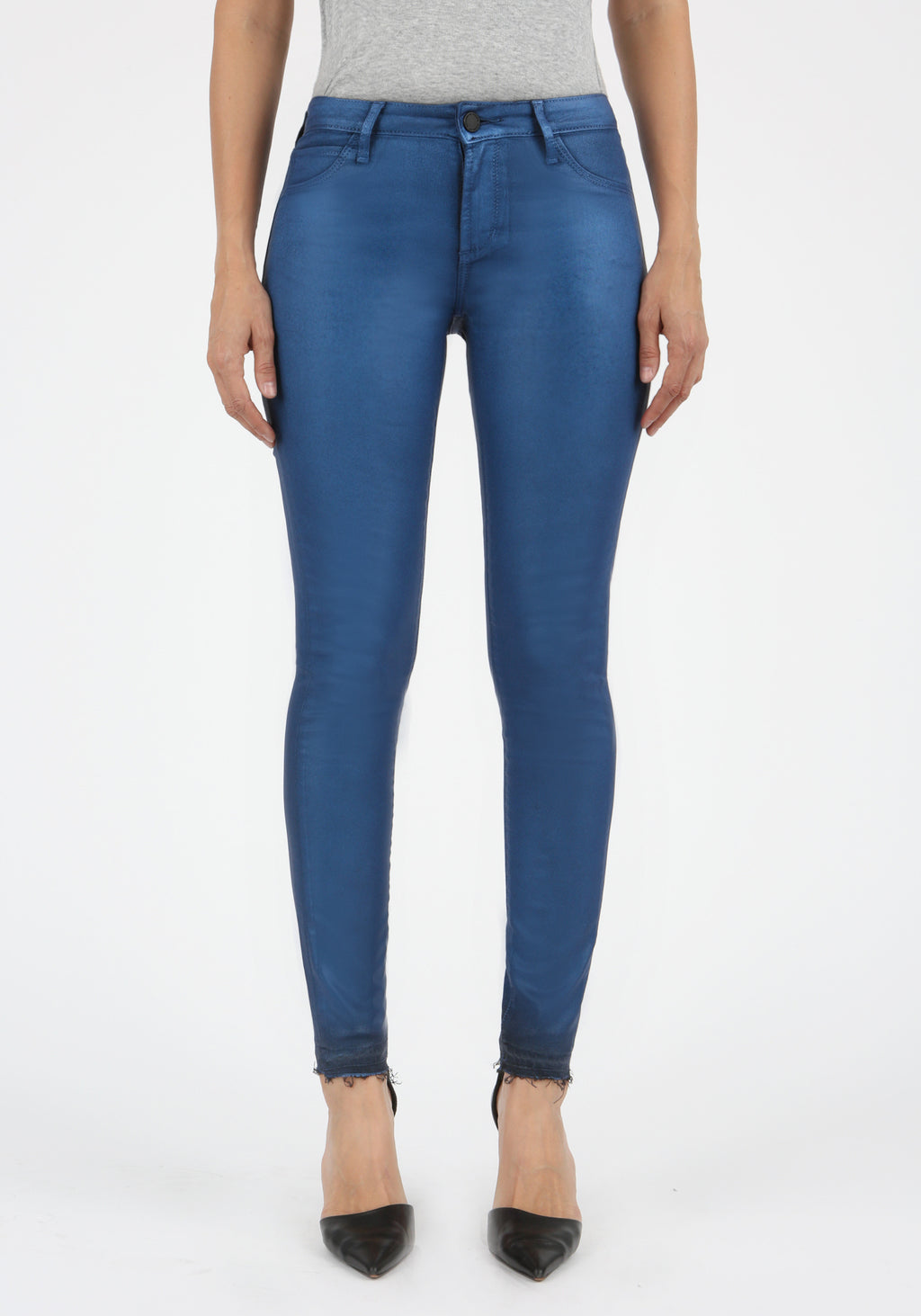 Coated Blue Skinny Jeans