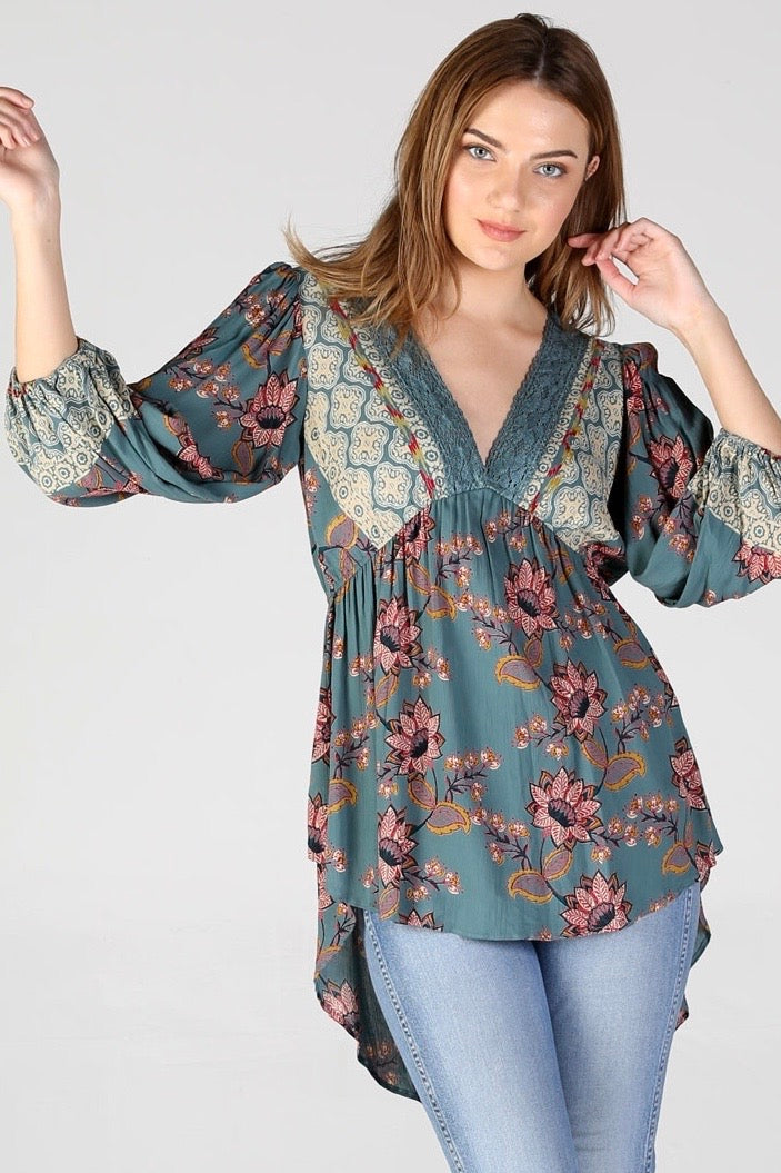 Lace Trim Bohemian Blouse