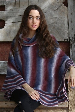 Striped Cowl Neck Poncho Front