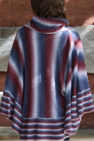 Striped Cowl Neck Poncho Back