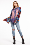 LAST CALL SIZE S | Plaid Button Down Top with Floral Burnout Sleeves