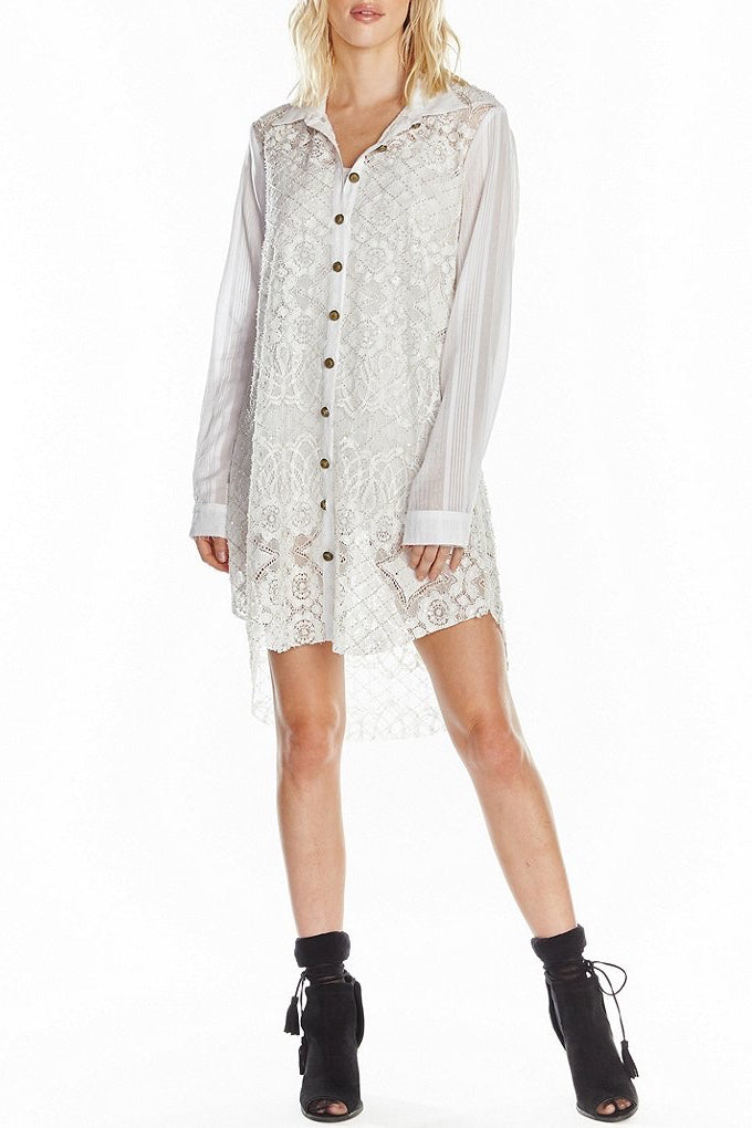 Winter White Beaded Shirt Dress Front
