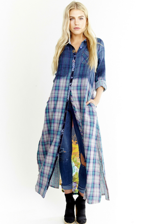 LAST CALL SIZE XS | Long Button Down Plaid Maxi Duster with Mixed Media Back Panel