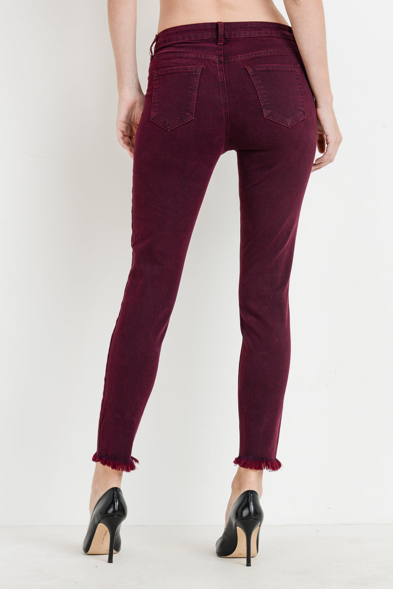 Button Down Skinny Jeans in Wine