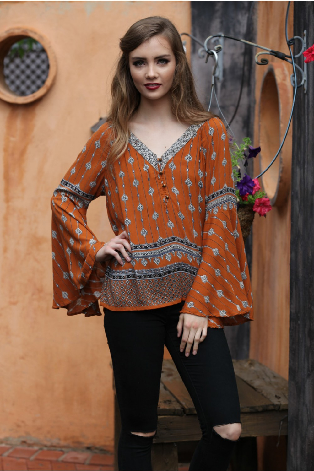 LAST CALL SIZE L | Bohemian Bell Sleeve Blouse in Burnt Orange