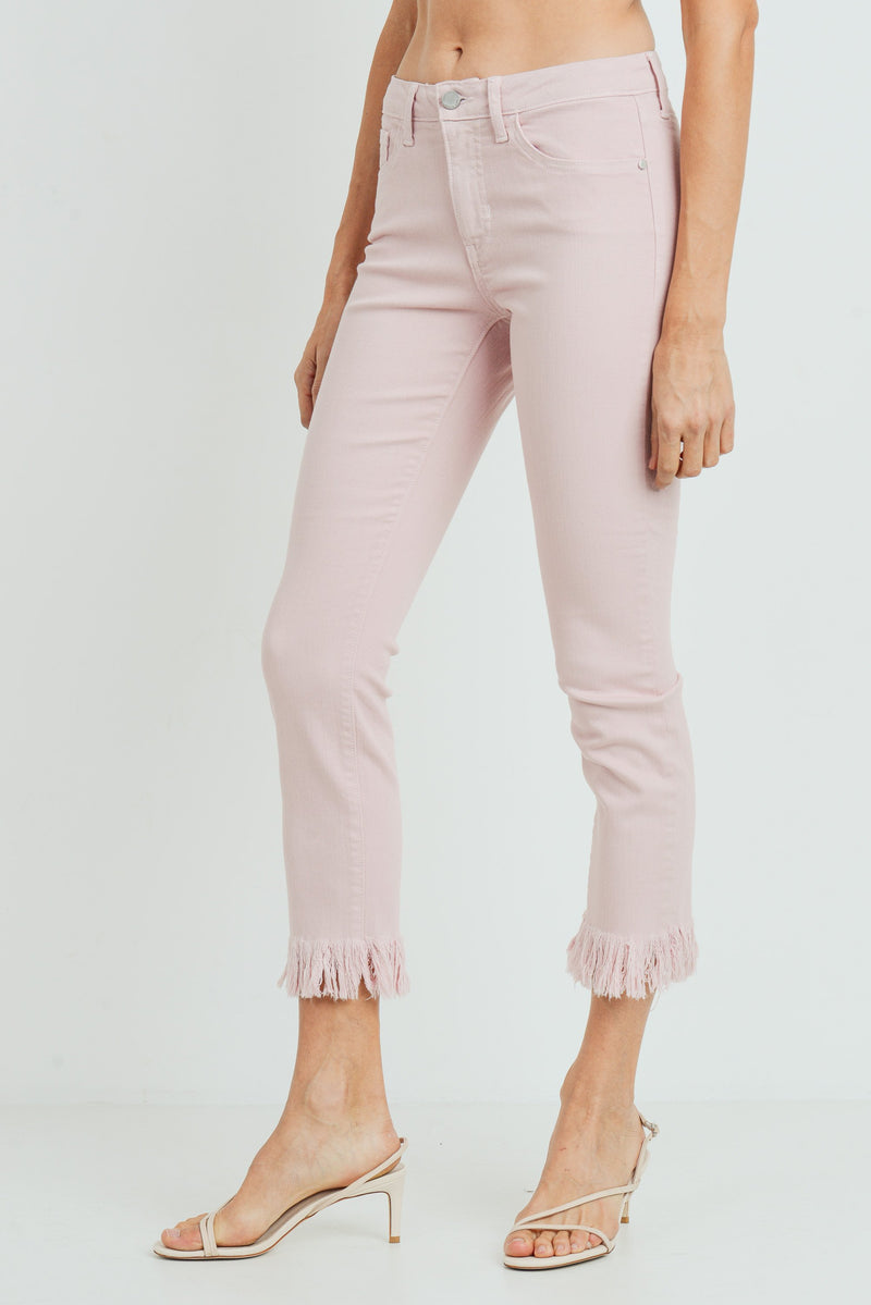 Cropped Skinny Jeans with Frayed Hem in Pastel Pink Side