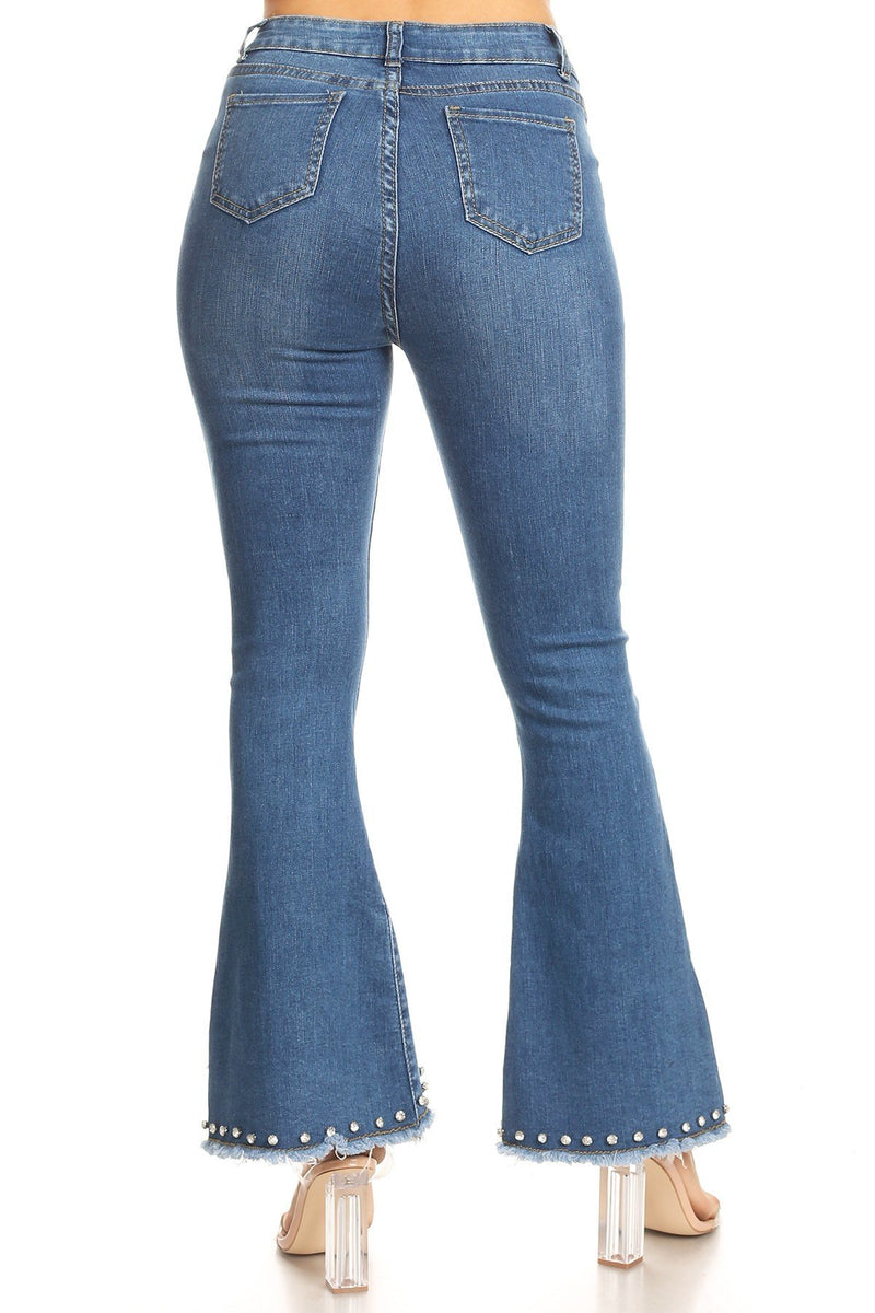 LAST CALL SIZE L | Super Stretch Skinny Bell Bottom Jeans with Crystals