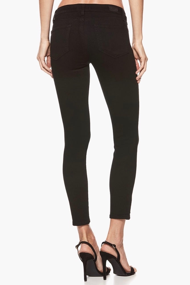 Black Overdye Cropped Midrise Denim Skinny Jeans Back