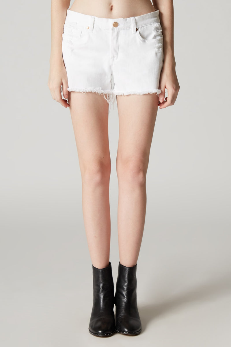 White Cut Off Denim Shorts Close Up