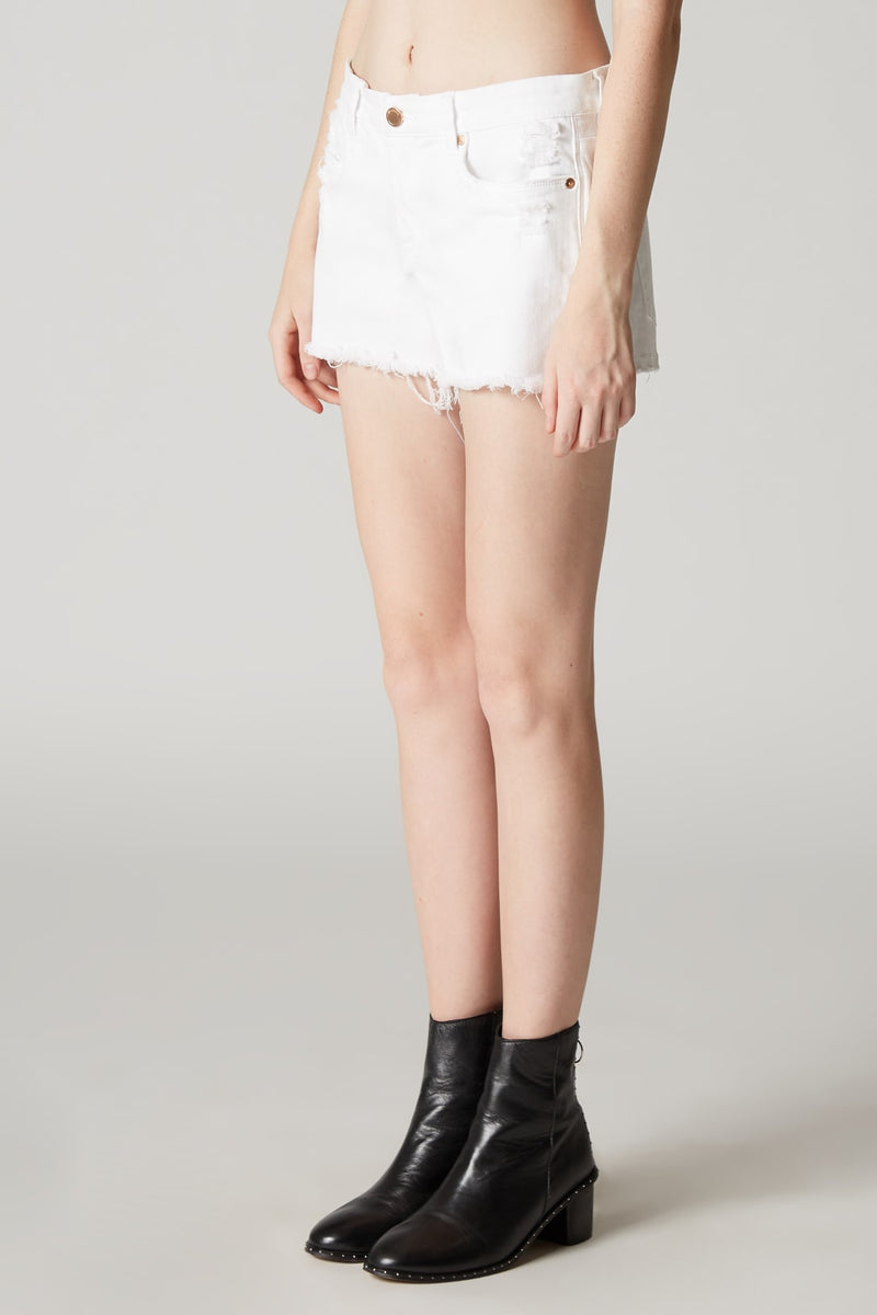 White Cut Off Denim Shorts Side