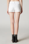 White Cut Off Denim Shorts Back