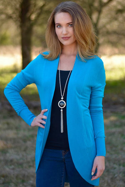 LAST CALL SIZE XS | Open Front Cardigan in Peacock Blue