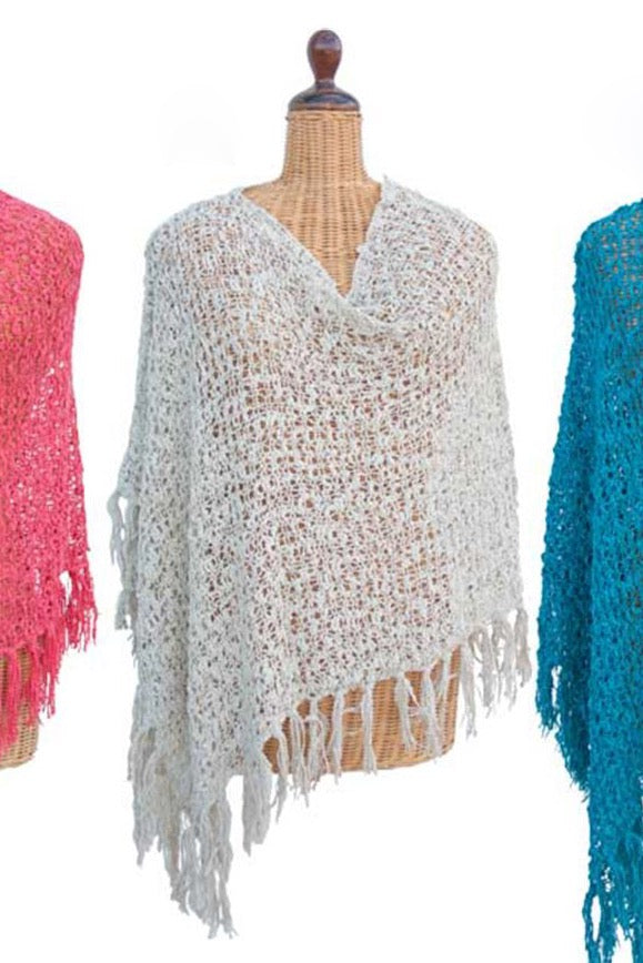 Open Knit White Fringe Poncho