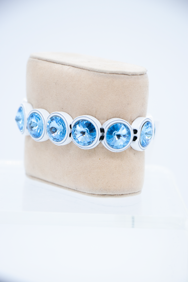 Painted Swarovski Crystal Bracelet - Ice Blue