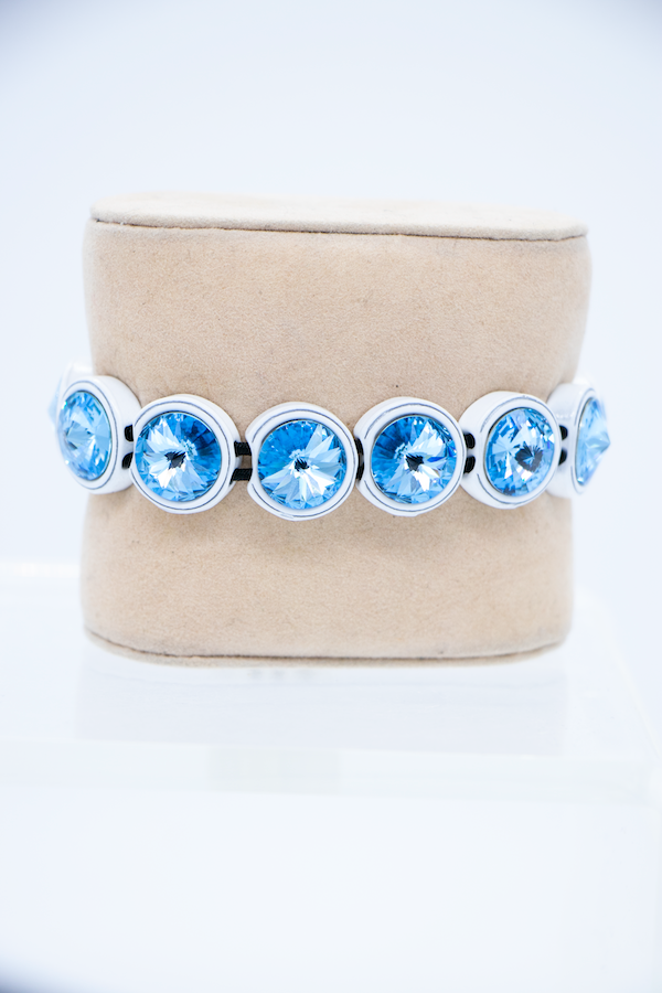 Painted Swarovski Crystal Bracelet - Ice Blue front