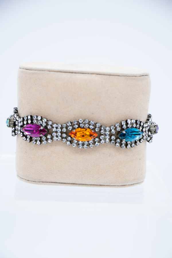 Multi Color Marquise Crystal Bracelet front