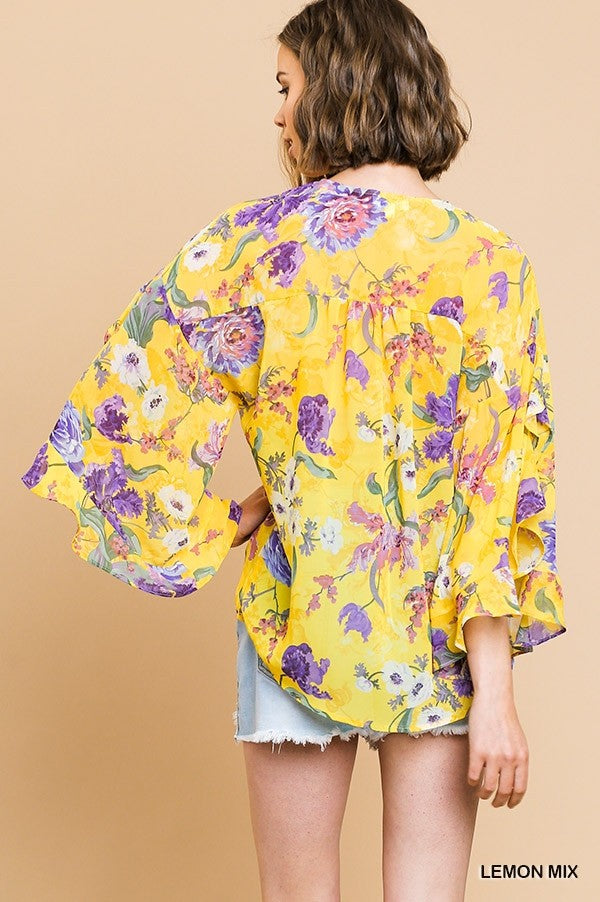 Floral Ruffled Blouse Back