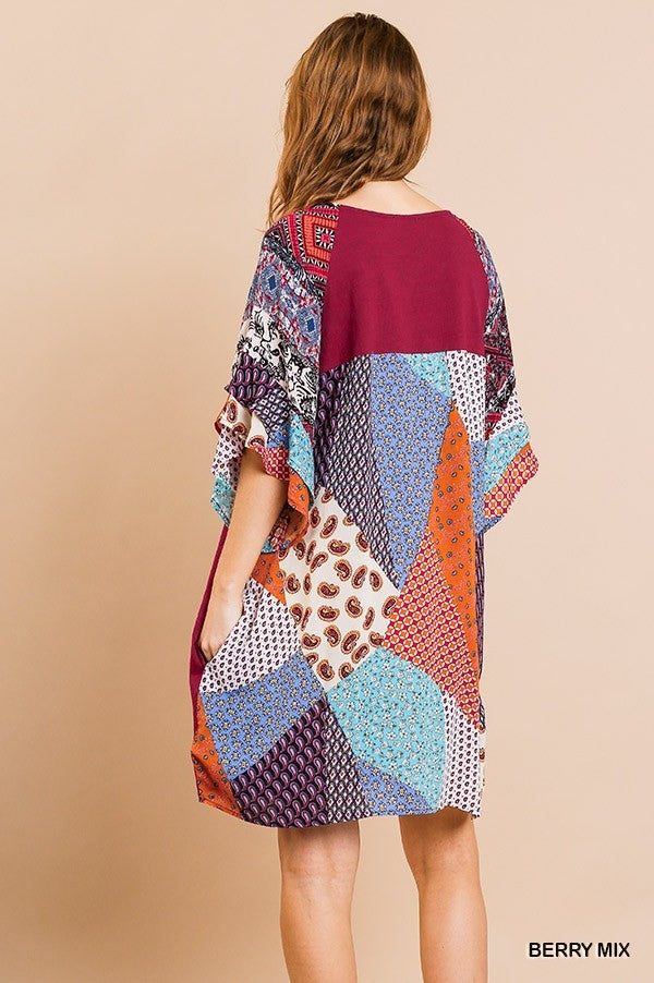 Solid Berry and Patchwork Print Dress