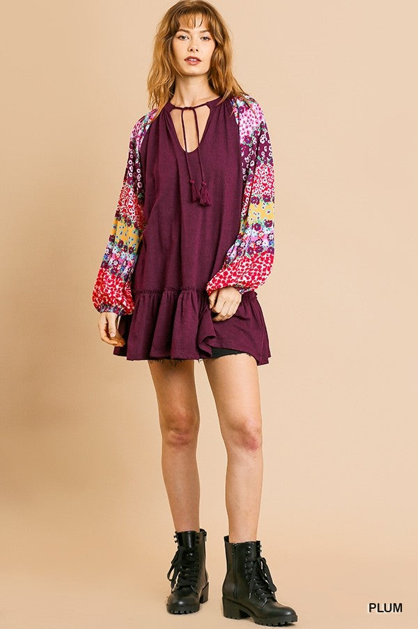 Plum Tunic Dress with Boho Print Sleeves