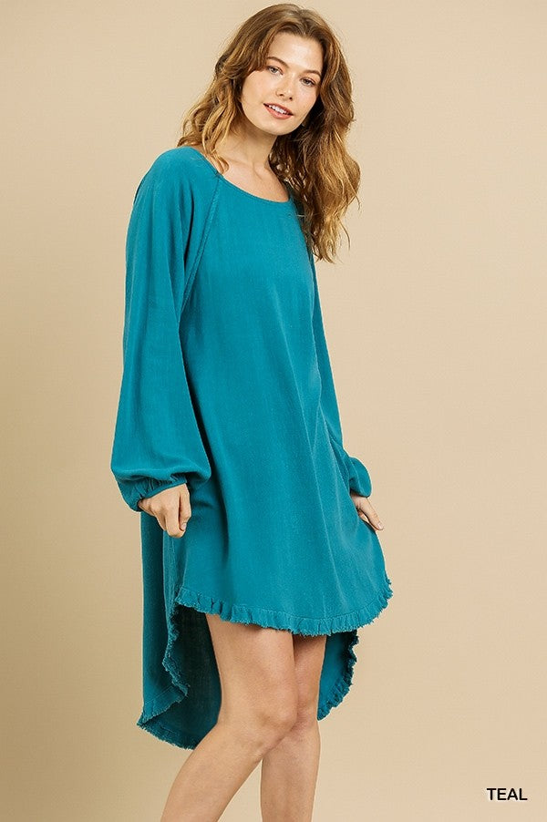 Long Sleeve High-Low Dress in Teal