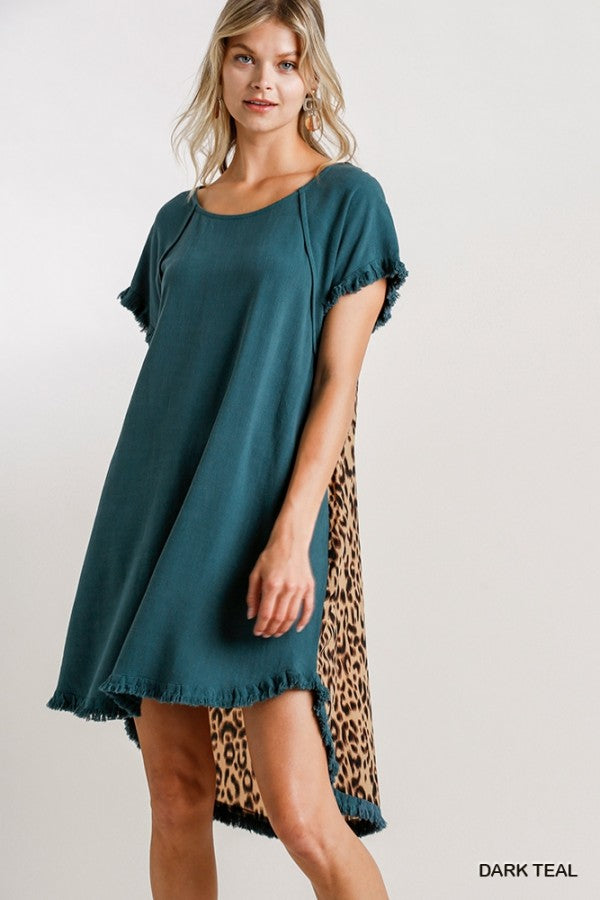 Animal Print Back Short Sleeve Dress in Dark Teal
