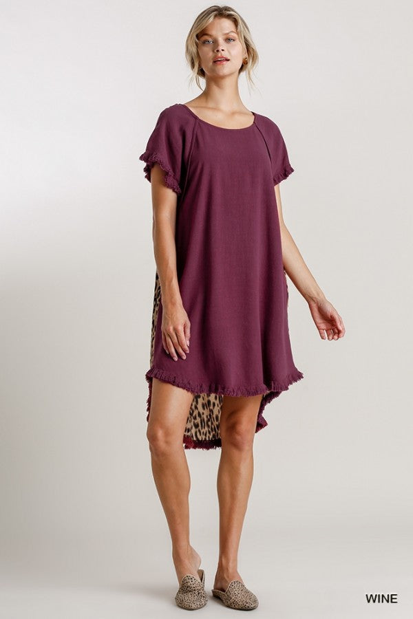 LAST CALL SIZE M | Animal Print Back Short Sleeve Dress in Wine