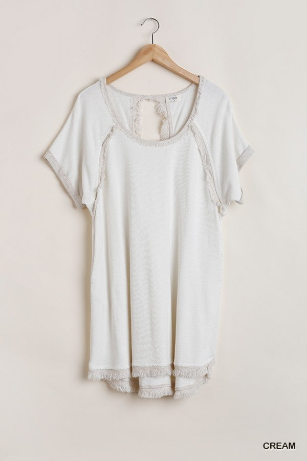LAST CALL SIZE M | Fringed Hem Scoop Neck Dress in Cream