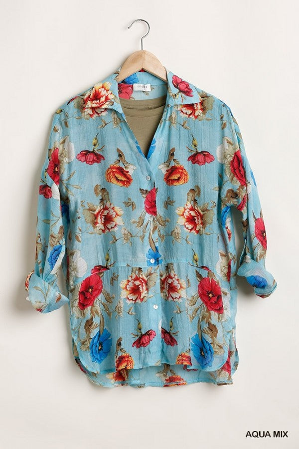 LAST CALL SIZE M | Floral Button Down Shirt in Aqua