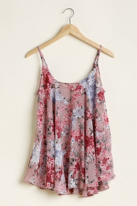Floral Print Tank Top in Mauve