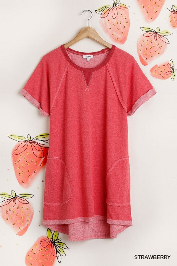 Pocketed Short Sleeve Sweatshirt Dress in Strawberry