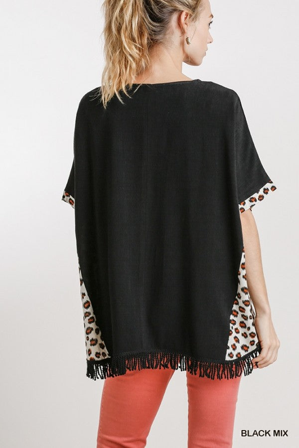 Black Short Sleeve Top with Leopard Trim
