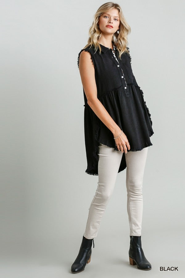 LAST CALL SIZE L | Sleeveless Linen Tunic with Cheetah Trim