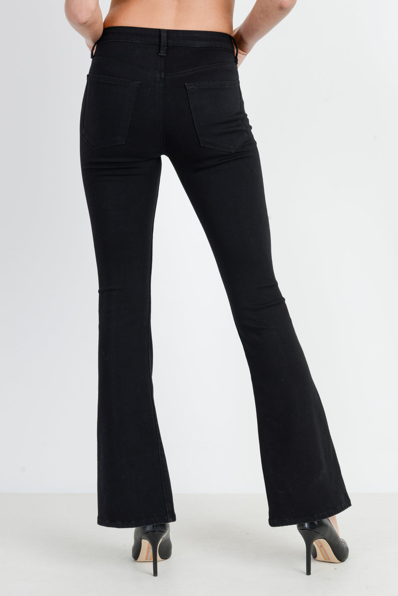 LAST CALL SIZE 25 | Front Slit Flare Black Jeans