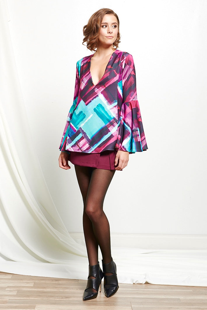 Multi-Color Bell Sleeve Blouse