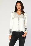 Satin Button Up Long Sleeve Top