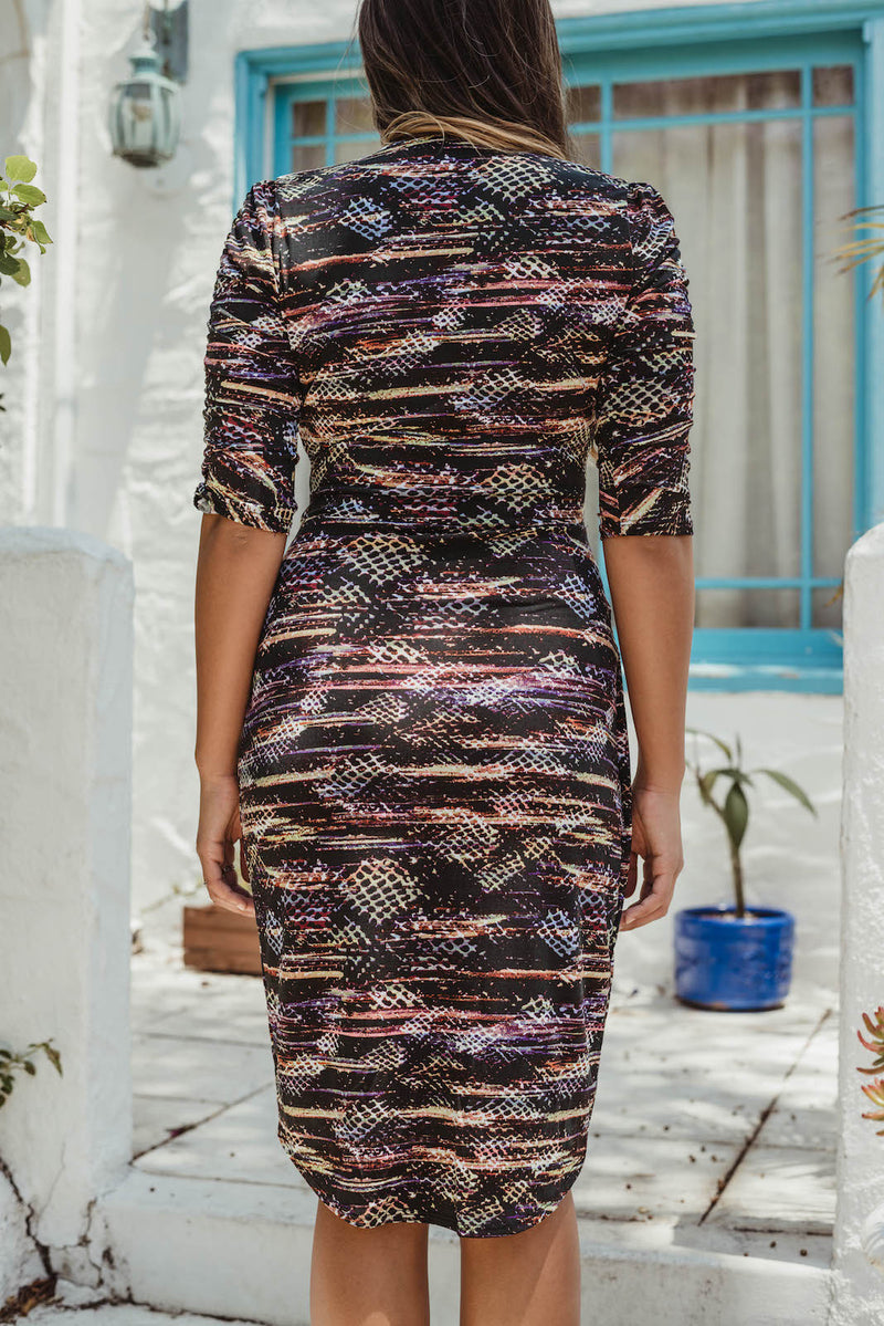 Shirred Wrap Dress in Abstract Print