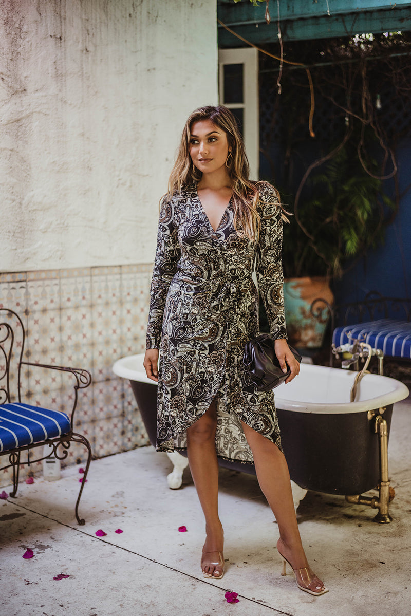 Shirred Wrap Dress in Paisley Print