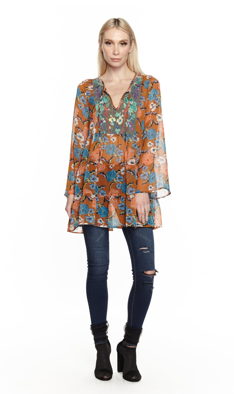 Floral Copper Bohemian Tunic Dress