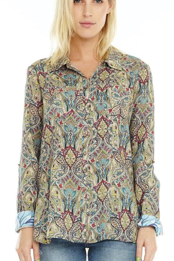 LAST CALL SIZE L | Paisley Print Button Up w/ Floral Embroidery