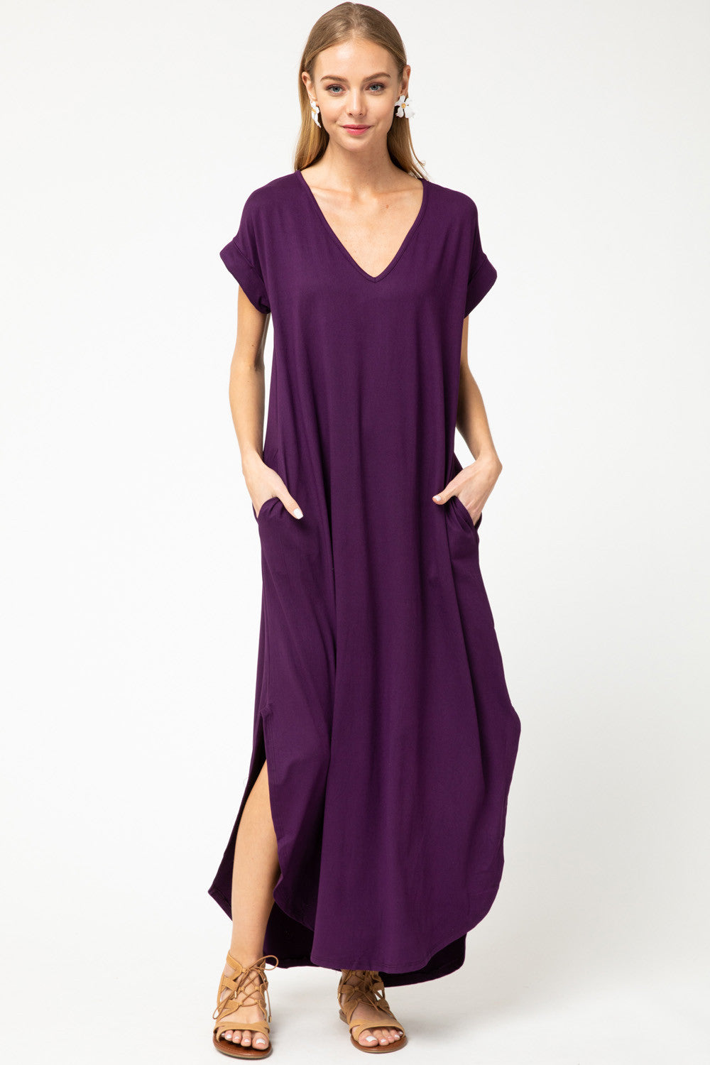 LAST CALL SIZE M | Jersey Knit Maxi Dress in Plum