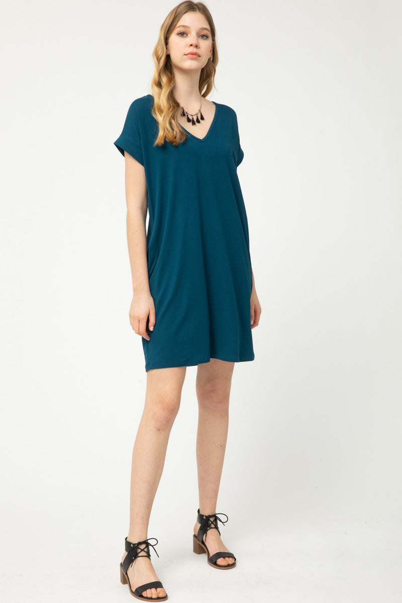 T-Shirt Dress with Pockets in Teal