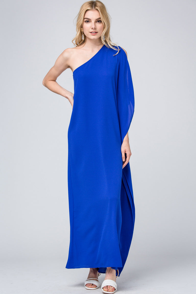 One Shoulder Maxi Dress in Royal Blue