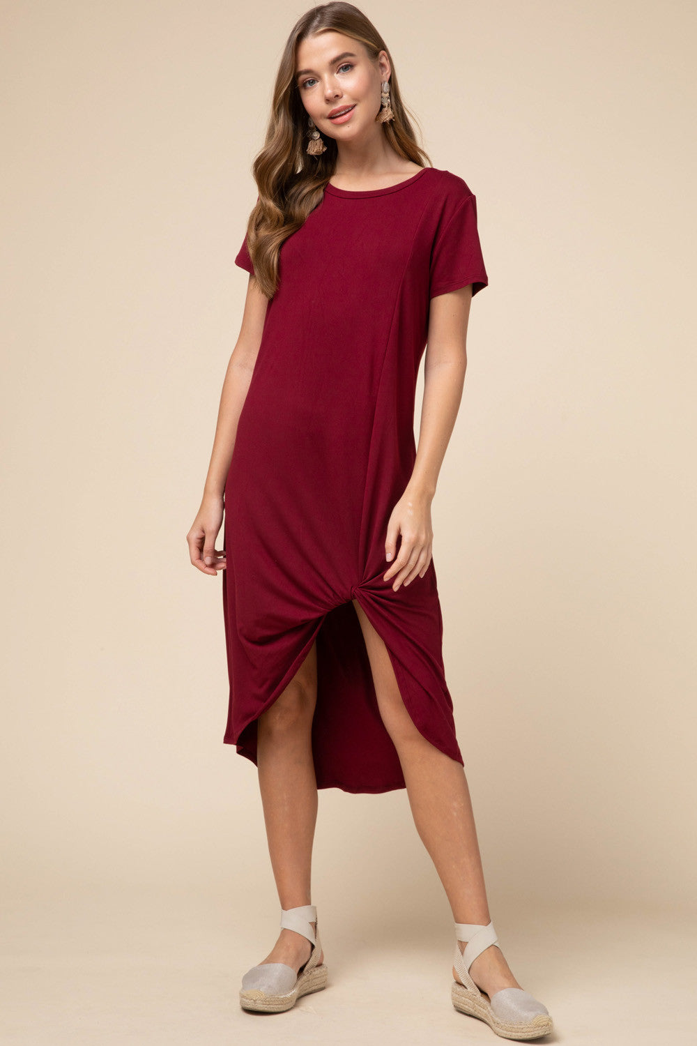 LAST CALL SIZE L | Twister Hem Midi Dress in Burgundy