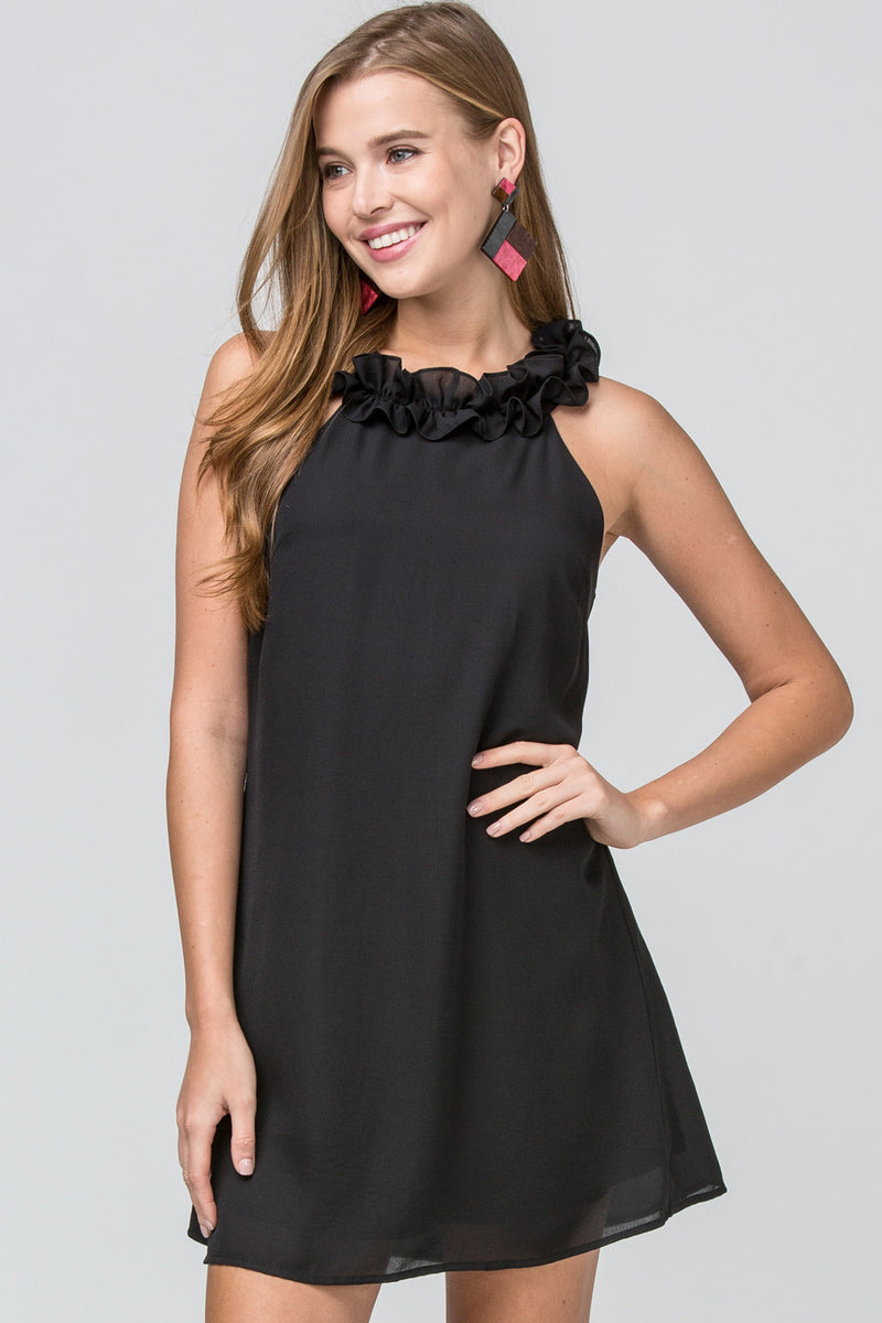 Sleeveless Ruffle Swing Dress