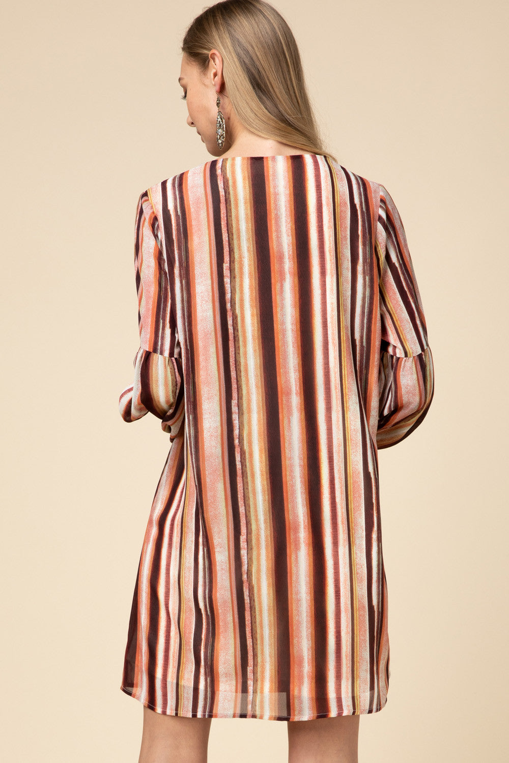Fall Stripes Long Sleeve Shift Dress